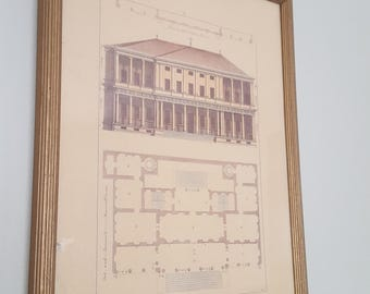 ON SALE, Andrea Palladio, John Darby, Architectural Print, Hand tinted etching, Etched Print, Italian Architecture, Restoration Hardware,