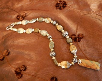 Necklace and earrings made of Jasper stones and sterling silver findings.