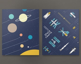 Print set of Spacecrafts and Solar System. Space Travel Poster Print Wall Art Home Décor. Space Race, Moon Exploration.