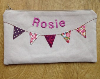 Personalised Pencil Case, Make Up Bag, Bunting Design, Back To School