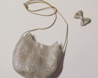 Child shoulder bag / lin girl Golden / silver hand made in France