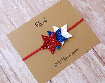 4th of july headband, stars headband, fourth of july headband, baby headband, girl headband, gitter headband