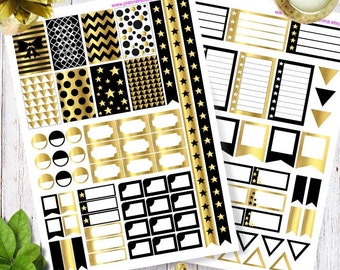 Printable Planner Stickers, Happy Planner Stickers, Erin Condren stickers black and gold Stickers