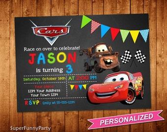 Disney Cars Invitation, Cars Birthday Invitation, Cars Invitations, Lightning McQueen Invite, Personalized, Digital File