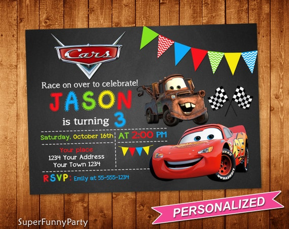 Disney Cars Invitation Cars Birthday Invitation Cars