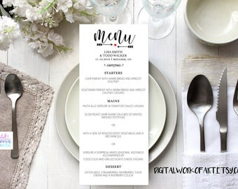 Wedding Menu Template, Printable Wedding Menu, DIY Rustic Wedding, Table Menu Card, Reception Card, Editable PDF Template, Calligraphy, Menu
