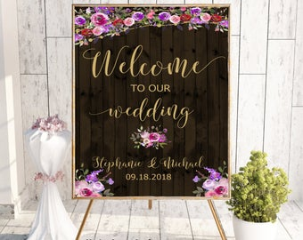 Welcome To Our Wedding, Welcome Wedding Sign, Printable Welcome Sign, Welcome Sign, Custom Welcome Sign, Floral, Boho Chic Wedding, Allure