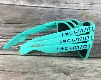 Mint ADULT Personalized Sunglasses, Wedding Favor, Bachelorette Party Favor, Mint Sunglasses, Light Green Shades, Soft Romantic Favors