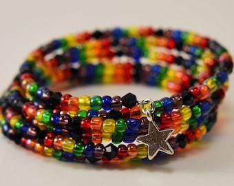 Rainbow memory wire cuff bracelet