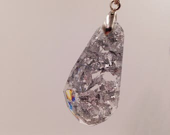 """Chain """"Leaf Silver"""" Cast resin pendant in silver"""
