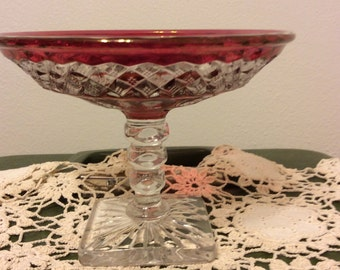 Vintage Ruby Red Thumbprint Design a Glass on Pedestal