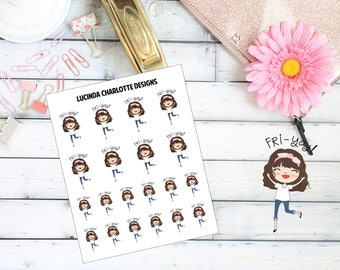 Fri-Yay Girl Character (Friday) - Planner Stickers