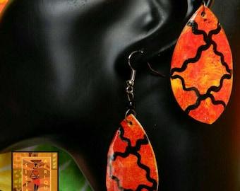 Orange, black and yellow painted earrings