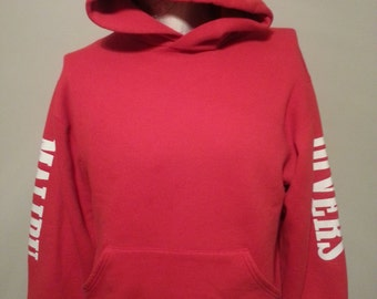 Vintage 90's Malibu Divers Life Guard Red Hoodie Sweat Shirt Size Medium Made In USA Russell Athletic