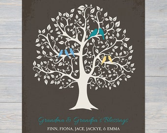 GRANDKIDS FAMILY TREE, Canvas Art, Childrens Names Family Tree, Grandparents Gift, Grandma Grandpa Gift, Nana Gift, Grandma Birthday Gift