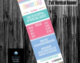 Fashion Retailer Vertical Banner Digital File - Home Office Approved Branding Guide Compliant Fonts/Colors - 2'x6' - Size Chart Banner