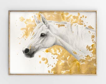 Original Mixed Media Animal Portrait, White Horse Drawing with Golden Acrylic Paint