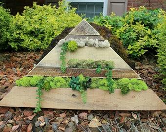 The Hanging Gardens // reclaimed pallet wood art // moss // garden // wood round // custom handmade // succulents / mountain / ready to ship
