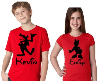 Family Disney Shirts Mickey and Friends Customized with Name T Shirts for the Whole Family Choose From Minnie, Donald, Goofy, Pluto and more