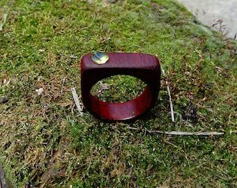 Wooden ring Peridot ring woman ring padauk ring wood jewelry peridot jewelry Anniversary gift wood ring red ring