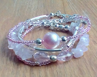Valentine's gift bracelet set silver plated set of 4 bracelets pink and silver bracelet set pearl and crystal bracelets multistrand bracelet