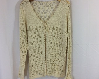70s hand made vintage knitted cotton loose knit sweater in cream