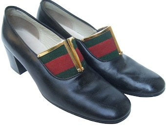 Gucci Black Leather Canvas Trimmed Shoes. 1960's.