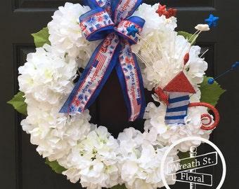 Hydrangea Wreath, Patriotic Wreath, White Wreath, Grapevine Wreath, Wreath Street Floral, Front Door Wreath, 4th of July Wreath, Wreath