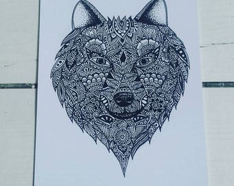 A5 Wolf Print - Henna Mehndi Art - Zentangle - Mandala - Art Print