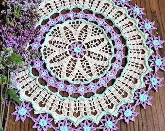 Crochet Doily; Made to Order;  Avalon Doily; Spring Doily; 19 Inches Round Doily;