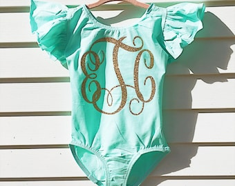 Monogram leotard - dance Leotard -  gymnastics leotard - toddler leotard - Child leotard - custom leotard - birthday outfit - girls leotard