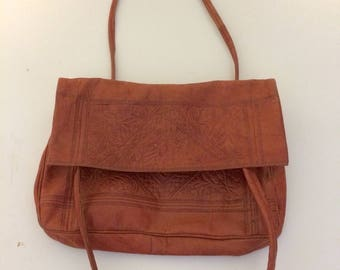 Vintage leather purse, brown leather hand tooled purse, bo ho purse, hand stamped supple leather, small purse