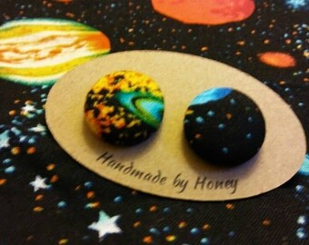 Galaxy/Fabric Button Covered Earrings/Nickel Free