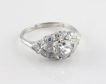 Vintage Art Deco Diamond Engagement Ring, 1.01 ct EGL-USA Certified