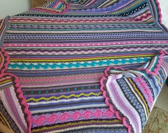 """Multi-Colored, Mixed-Stitch Crochet Afghan, 83""""x100 Queen-Sized"""