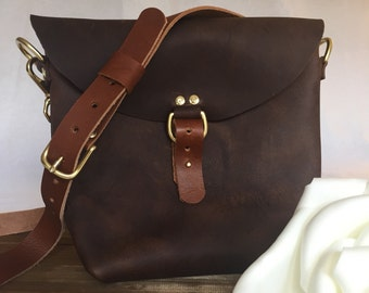 Crossbody bag, leather cross body bag, raw edge leather bar, unlined leather bag