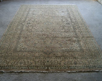 8'5x11'2'' Persian Rug, Large Area Rug, Vintage Low Pile Carpet