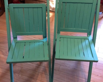 Wooden folding chairs /turquoise