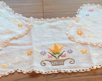 Hand embroidered set of 3 doilies