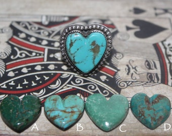 Sterling Turquoise Heart Ring, Turquoise Heart Pendant, Turquoise Statement Ring, Sterling Heart Ring, Heart Necklace, Statement Heart Ring