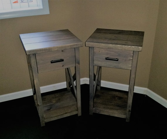 Rustic nightstand 30in tall for 30 tall black nightstand