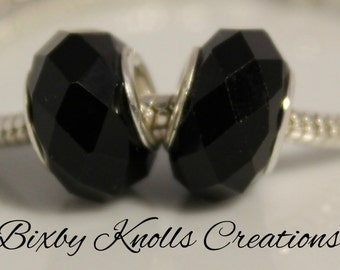 Black Glass Faceted Large Hole Bead for European Style Charm Bracelets