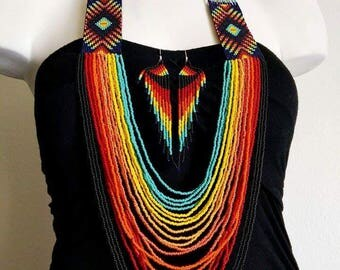 Hand beaded tribal necklace with earrings, tribal necklaces, beaded necklaces,necklaces,earrings