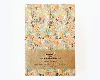 Notebook, floral notebook, illustrated notebook, botanical notebook, present, flower stationery, botanique cahier, flower print, A5 notebook