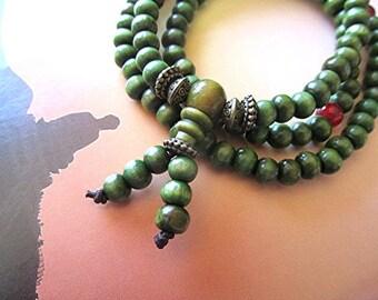 Mala necklace mala beads mala bracelet green sandalwood mala wooden bead mala 108 bead mala prayer beads boho hippie Buddhist meditation.
