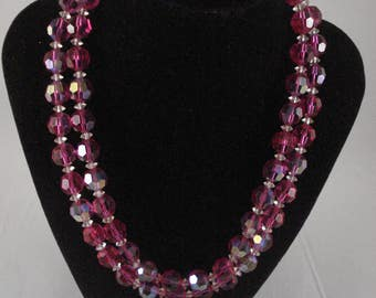Double Strand Pink Glass Bead Necklace Faceted Beads -1950s