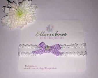 Lace headband with Petersham ribbon bow and daisy detail