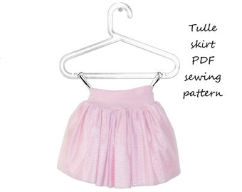 Tulle skirt sewing pattern PDF download, pattern and tutorial