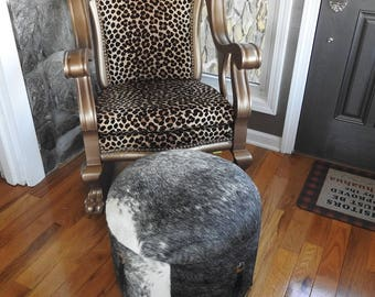 Western Brindle Cowhide Leather Hair On FOOTSTOOL Foot Stool Made in USA New!!!