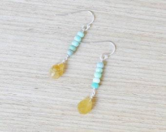 yellow opal and chrysoprase sterling silver earrings